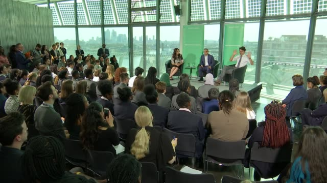 Ardern and Trudeau attend event at City Hall Justin Trudeau Jacinda Ardern and Sadiq Kahn talking about gender equality and answering audience...