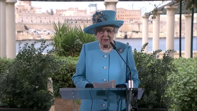 Final day of Queen's visit Queen Elizabeth II speech SOT Visiting Malta is always very special for me I remember happy days here with Prince Philip...