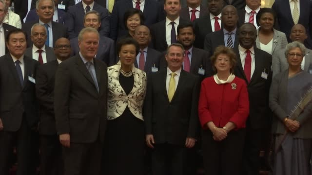 stockvideo's en b-roll-footage met photocall trade ministers posing for photocall on steps / liam fox along to greet other ministers / ministers standing chatting / flags of different... - britse rijk