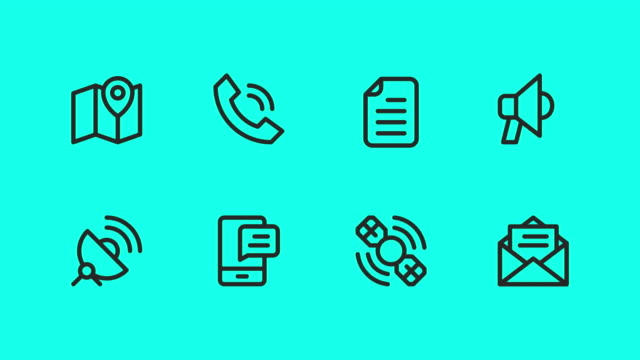 communication icons - vector animate - outline stock videos & royalty-free footage