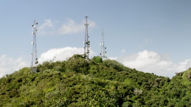WS TU AERIAL POV Communication tower on top of Cerro de Punta / Jayuya, Puerto Rico, United States