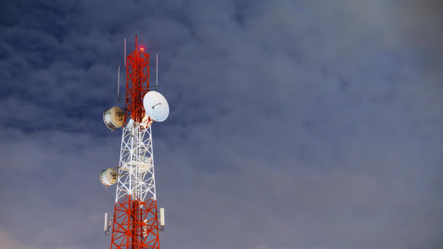 communication tower site at night timelapse - mast stock videos & royalty-free footage