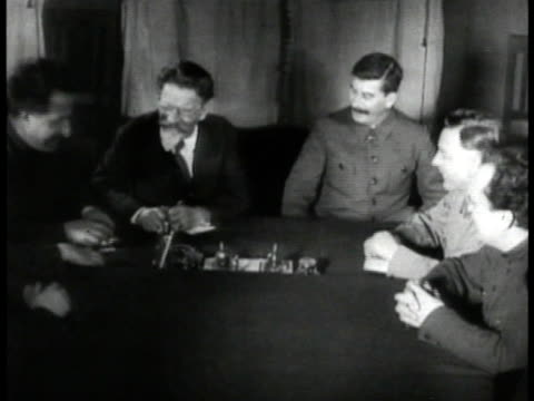 communist dictator josef stalin premier of the soviet union seated talking w/ other government officials - 1935 stock videos and b-roll footage