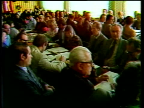Communist Party election POLAND / Czechoslovakia Border Nowy Sacz Sign 'PZPR' PULL BACK GV Meeting of party committee of railway works MS Delegates...