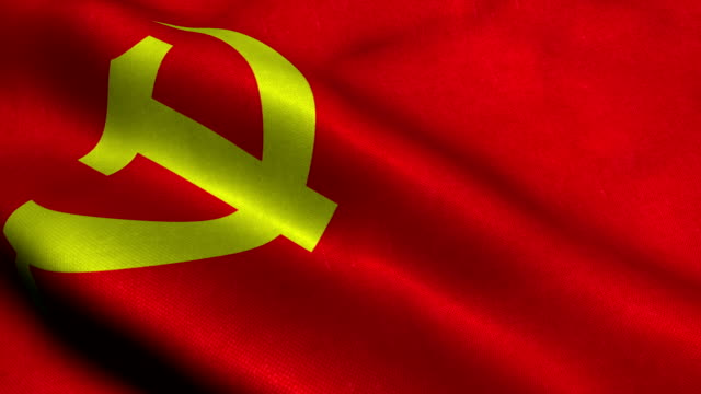 communist party flag - comunismo video stock e b–roll