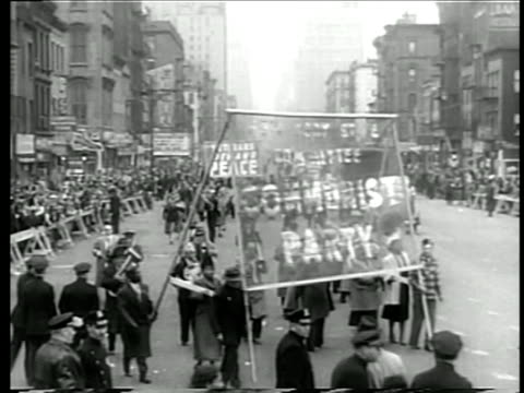 Communist Party marching in protest against NATO / NYC / documentary