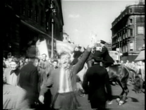 communist party marching in streets protest against nato as police try to keep order - 1949 stock videos & royalty-free footage