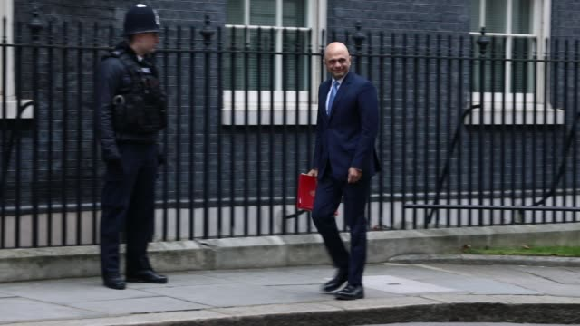 Communities and Local Government Secretary Sajid Javid and Leader of the House of Commons Andrea Leadsom arrive as government ministers attend the...