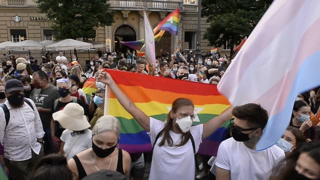 community and supporters wear protective face masks dance during the 2020 equality march on the unesco listed main square on august 29, 2020 in... - poland stock videos & royalty-free footage