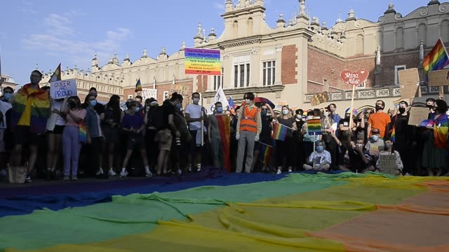 """community and supporters wear protective face masks shout slogans saying """"freedom, equality and solidarity"""" during the 2020 equality march on the... - poland stock videos & royalty-free footage"""