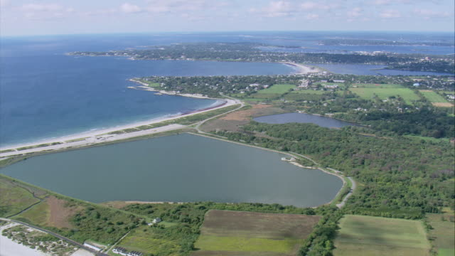 AERIAL Community, causeway, shoreline, and Purgatory Chasm / Middletown, Rhode Island, United States