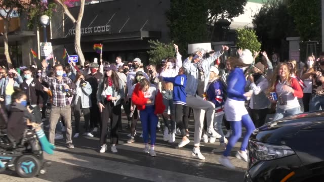 community celebrates the 2020 election win of joe biden and kamala harris by dancing in the streets of west hollywood., on november 7, 2020. -... - united states presidential election stock videos & royalty-free footage