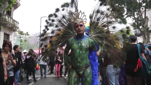 community in argentina holds the country's annual pride parade in the city of buenos aires - buenos aires stock videos & royalty-free footage