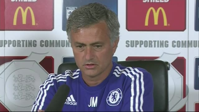 community shield preview 182015 cobham int jose mourinho press conference sot immediately when i arrived 3 years ago i look at them as very good... - cobham surrey stock videos and b-roll footage
