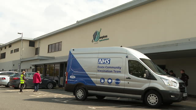 community vaccination bus travelling around the area in essex to make sure everyone can access the vaccine - hd format stock videos & royalty-free footage