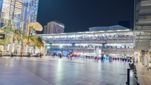 Commuter voetganger menigte Bangkok Siam Square Time-Lapse voor stadsleven achtergrond