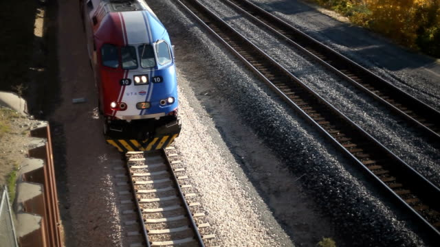 Commuter train below