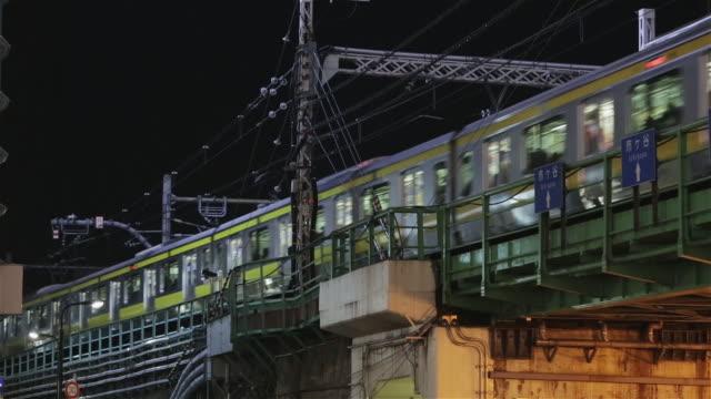 ls a commuter train crosses a bridge in shinjuku district / tokyo, japan - 列車点の映像素材/bロール