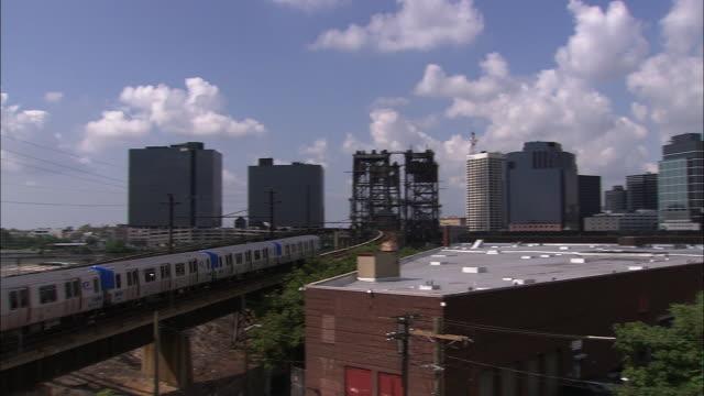 A commuter train heads towards Newark, New Jersey