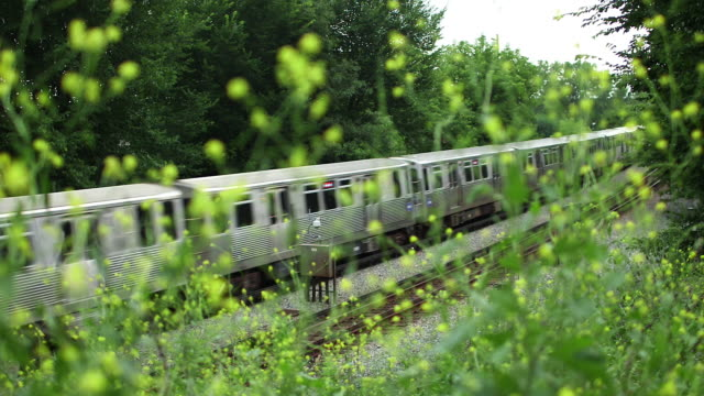 a commuter train in a deserted, wooded area - commuter train stock videos & royalty-free footage