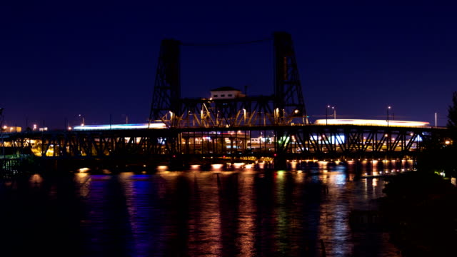 Commuter Trains Light up the Steele Bridge