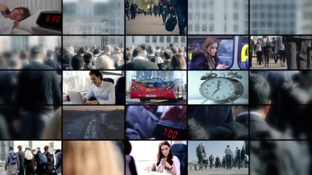 vídeos de stock e filmes b-roll de commuter video wall. montage of people starting the day, waking up and travelling to work by bus, train car and walking. - diário