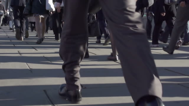 commuters and legs a - sidewalk stock videos & royalty-free footage