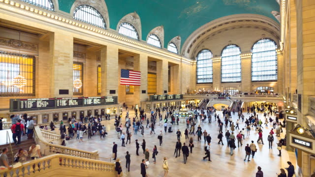 ws commuters at grand central station - railway station stock videos and b-roll footage