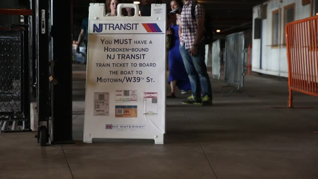 commuters board a ferry from new jersey transit trains during a morning commute to penn station on the first day of interruptions in hoboken new... - monday morning stock videos & royalty-free footage