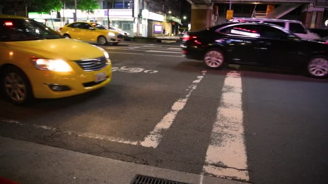 commuters in taipei evening. typical scene - road signal stock videos & royalty-free footage