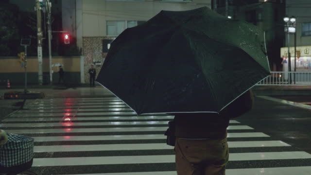 commuters on crosswalk in raining. - 1983 stock videos and b-roll footage