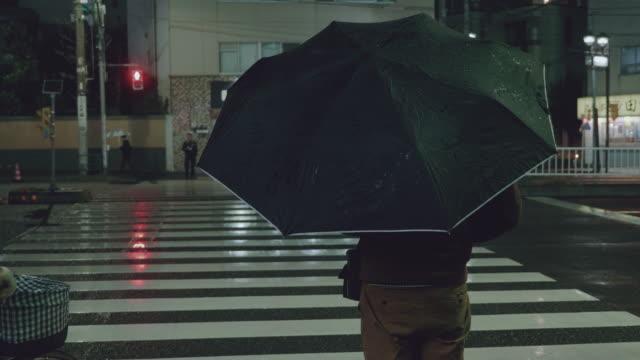 Commuters on Crosswalk in raining.
