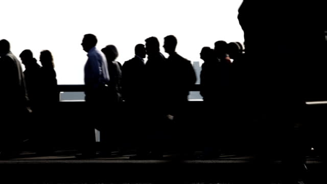 commuters: silhouettes