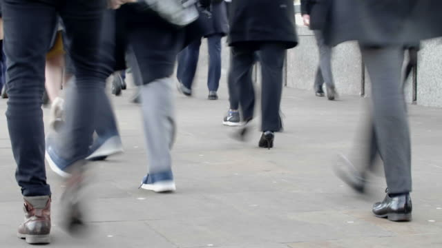 commuters walking, feet and legs. time lapse - unrecognisable person stock videos & royalty-free footage