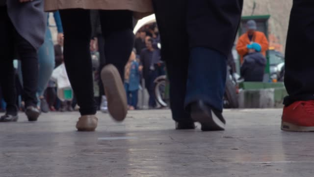 commuters walking on the sidewalk low angle view of the feet in tehran - tehran stock videos & royalty-free footage