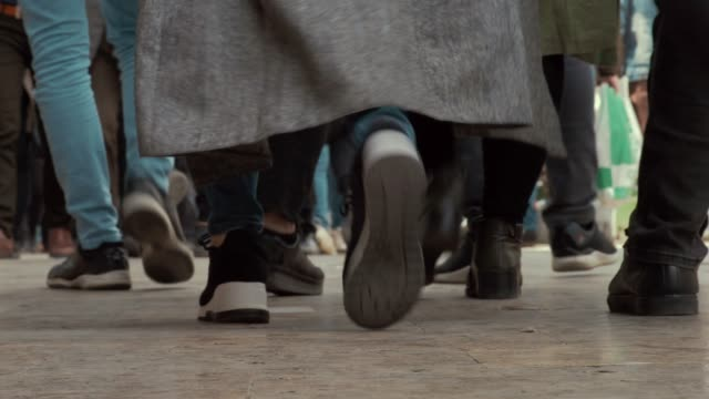 commuters walking on the sidewalk low angle view of the feet in tehran - iran stock videos & royalty-free footage