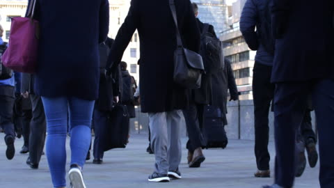 commuters walking to work. low age view. - mixed age range stock videos & royalty-free footage
