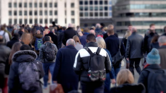 commuters walking to work, rear view. - real people stock videos & royalty-free footage