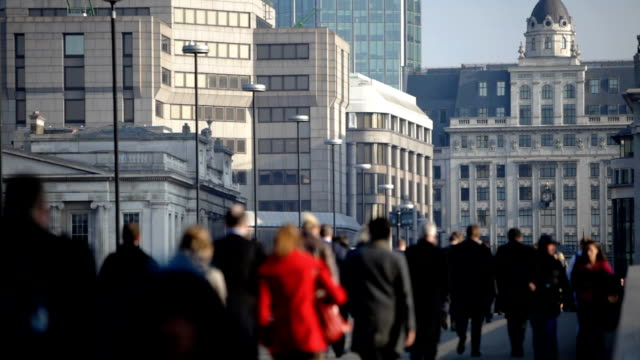 commuters: walking to work - city of london stock videos & royalty-free footage