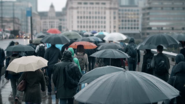 commuters with umbrellas walking in the rain. sm. - shower stock videos & royalty-free footage