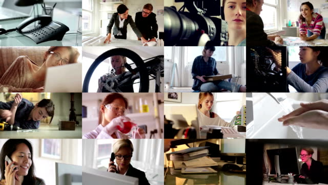 comp women at work - composite image stock videos & royalty-free footage