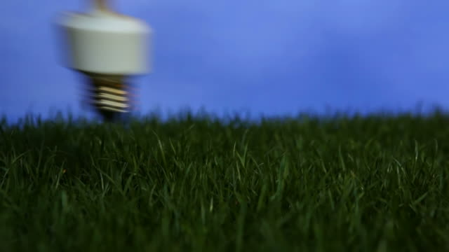 cu, compact fluorescent light bulb screwed into grass and turned on - compact fluorescent light bulb stock videos & royalty-free footage