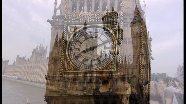 company suggests that london would benefit from branding; t27071221 england: london: westminster: ext big ben houses of parliament with tourists on... - big ben点の映像素材/bロール
