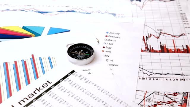 kompass und börse chart - kompass stock-videos und b-roll-filmmaterial