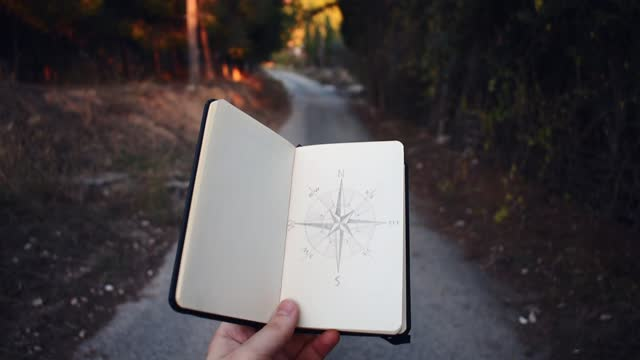 compass drawn on a small notebook pointing to a forest path - hand sign stock videos & royalty-free footage