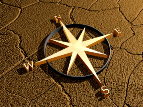 Compass on cracked earth sun setting east to west