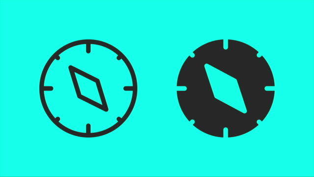 compass - vector animate - green colour stock videos & royalty-free footage