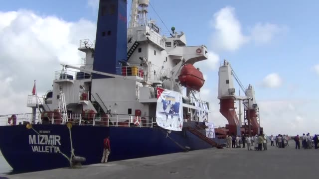 Compassion Ship a Turkish ship carrying humanitarian aid has docked in Aden harbor Yemen on February 25 2016 as part of an organization of the...
