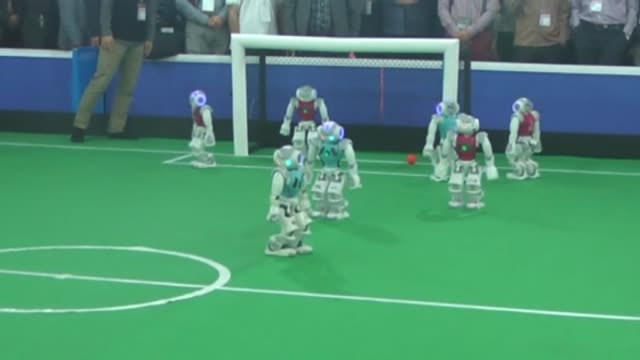 Competitors attend the 10th annual robotics competition International Robocup Open in Tehran Iran on April 8 2015 Participants from 14 countries...
