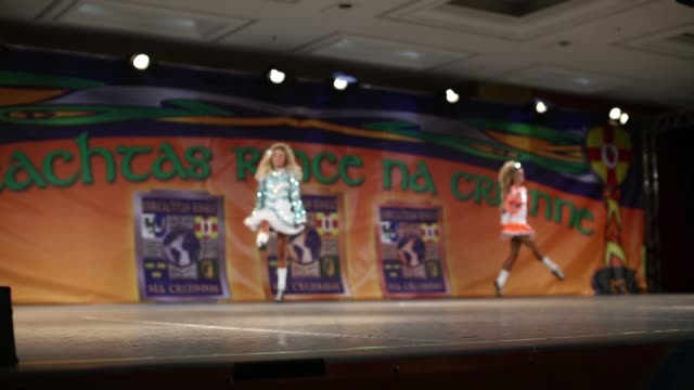Competitors perform at the World Irish Dance Championship on April 13 2014 in London England The 44th World Irish Dance Championship is currently...